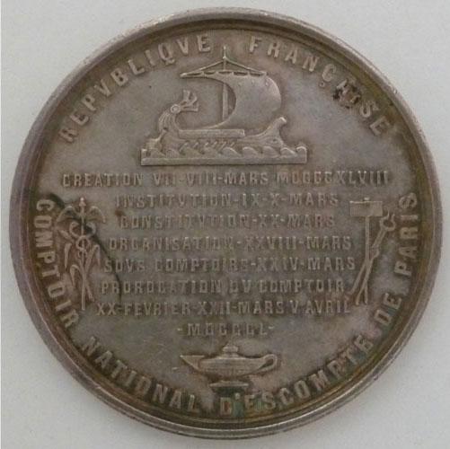 Photo numismatique  Médailles FINANCES (Notaires, CE, Banque…) COMPTOIR NATIONAL D'ESCOMPTE DE PARIS  Médaille