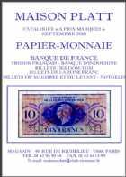 Photo numismatique  Librairie Catalogues de la Maison Platt Catalogue Septembre 2010  Catalogue général de numismatique et de PAPIER-MONNAIE