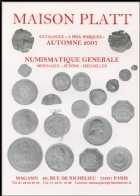 Photo numismatique  Librairie Catalogues de la Maison Platt Catalogue Automne 2007  Catalogue général de numismatique