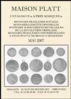 Photo numismatique  Librairie Catalogues de la Maison Platt Catalogue Mai 2007  Catalogue général de numismatique