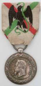 Photo numismatique  Ordres et Décorations Décorations Militaires Françaises LE SECOND EMPIRE (1852-1870) L'Expédition du Mexique (1862-1863) Médaille